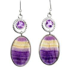 19.29cts natural multicolor fluorite amethyst 925 silver dangle earrings d39581