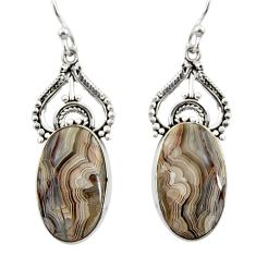 16.73cts natural multicolor mexican laguna lace agate 925 silver earrings r30242