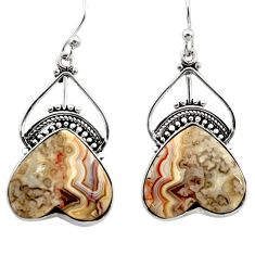 19.23cts natural multicolor mexican laguna lace agate 925 silver earrings r30243