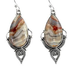 18.15cts natural multicolor mexican laguna lace agate 925 silver earrings r30246