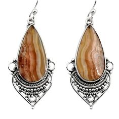 15.08cts natural multicolor mexican laguna lace agate 925 silver earrings r30247