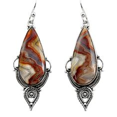 18.15cts natural multicolor mexican laguna lace agate 925 silver earrings r30249