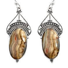 16.70cts natural multicolor mexican laguna lace agate 925 silver earrings r30251