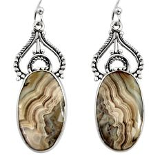16.18cts natural multicolor mexican laguna lace agate 925 silver earrings r30253