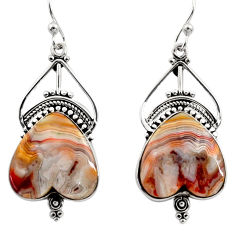 19.23cts natural multicolor mexican laguna lace agate 925 silver earrings r30255