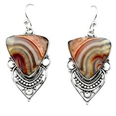 21.18cts natural multicolor mexican laguna lace agate 925 silver earrings r30268
