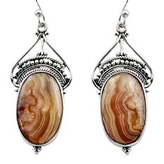 18.10cts natural multicolor mexican laguna lace agate 925 silver earrings r30271