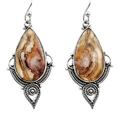 15.72cts natural multicolor mexican laguna lace agate 925 silver earrings r30276