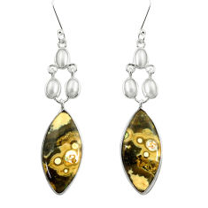 Clearance Sale- 18.73cts natural multicolor ocean sea jasper 925 silver dangle earrings d39549