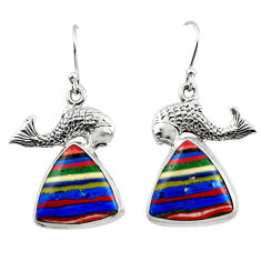 18.47cts natural multicolor rainbow calsilica 925 silver fish earrings r45303