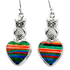 17.42cts natural multicolor rainbow calsilica 925 silver owl earrings r45281