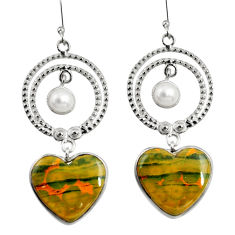Clearance Sale- 22.09cts natural ocean sea jasper (madagascar) 925 silver dangle earrings d39690