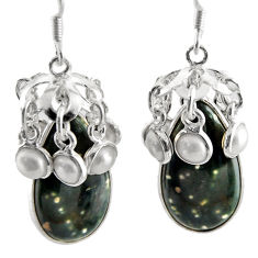 Clearance Sale- 28.06cts natural ocean sea jasper (madagascar) 925 silver dangle earrings d45756