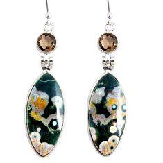 20.40cts natural ocean sea jasper (madagascar) 925 silver dangle earrings r75701