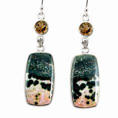 22.14cts natural ocean sea jasper (madagascar) 925 silver dangle earrings r75703