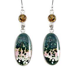 21.53cts natural ocean sea jasper (madagascar) 925 silver dangle earrings r75705