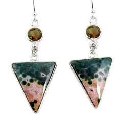17.90cts natural ocean sea jasper (madagascar) 925 silver dangle earrings r75706