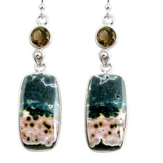 19.73cts natural ocean sea jasper (madagascar) 925 silver dangle earrings r75718