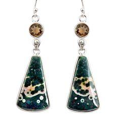 18.39cts natural ocean sea jasper (madagascar) 925 silver dangle earrings r75720