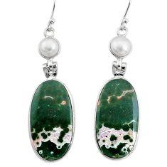 19.11cts natural ocean sea jasper (madagascar) 925 silver dangle earrings t14887