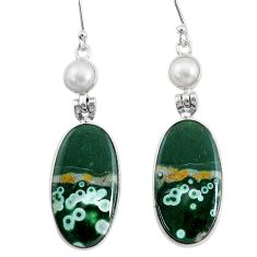 19.92cts natural ocean sea jasper (madagascar) 925 silver dangle earrings t14888