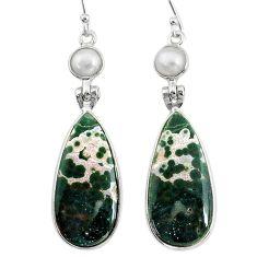 18.68cts natural ocean sea jasper (madagascar) 925 silver dangle earrings t14891