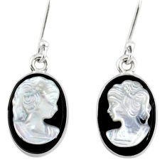 7.52cts natural opal cameo on black onyx 925 silver lady face earrings r80423