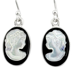 6.95cts natural opal cameo on black onyx 925 silver lady face earrings r80426