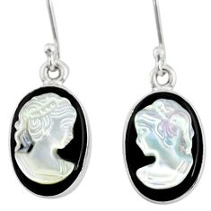 7.08cts natural opal cameo on black onyx 925 silver lady face earrings r80432