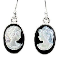 7.38cts natural opal cameo on black onyx 925 silver lady face earrings r80433