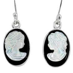 7.57cts natural opal cameo on black onyx 925 silver lady face earrings r80437