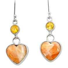 14.72cts natural orange calcite citrine 925 silver dangle earrings d39707