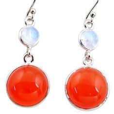 17.29cts natural orange cornelian (carnelian) 925 silver dangle earrings r36548