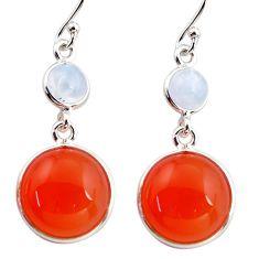17.29cts natural orange cornelian (carnelian) 925 silver dangle earrings r36552