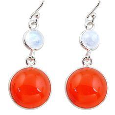 19.09cts natural orange cornelian (carnelian) 925 silver dangle earrings r36555