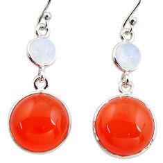 17.90cts natural orange cornelian (carnelian) 925 silver dangle earrings r36560