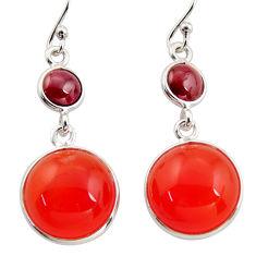 17.90cts natural orange cornelian (carnelian) 925 silver dangle earrings r36562