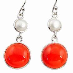 17.90cts natural orange cornelian (carnelian) 925 silver dangle earrings r36573
