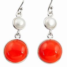 17.29cts natural orange cornelian (carnelian) 925 silver dangle earrings r36578