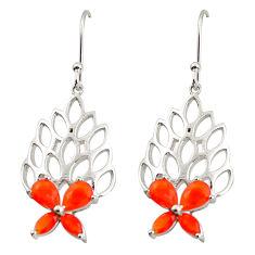 6.63cts natural orange cornelian (carnelian) 925 silver dangle earrings r36734