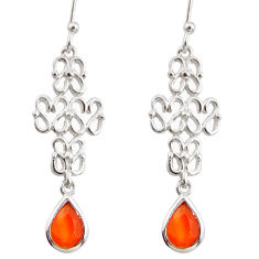 3.22cts natural orange cornelian (carnelian) 925 silver dangle earrings r36893