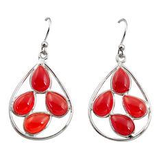 11.26cts natural orange cornelian (carnelian) 925 silver dangle earrings r37361
