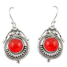 8.77cts natural orange cornelian (carnelian) 925 silver dangle earrings r42329