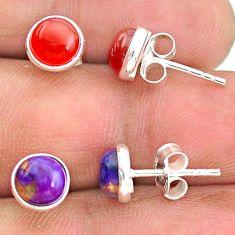 4.48cts natural orange cornelian (carnelian) 925 silver stud earrings t23914