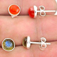 4.46cts natural orange cornelian (carnelian) 925 silver stud earrings t23917
