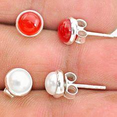 4.03cts natural orange cornelian (carnelian) 925 silver stud earrings t23940