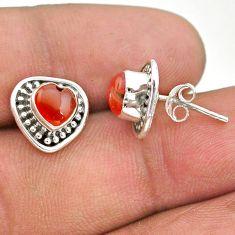 2.56cts natural orange cornelian (carnelian) 925 silver stud earrings t41573