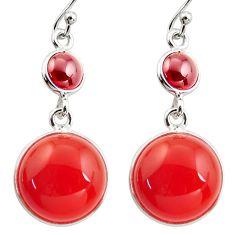 17.35cts natural orange cornelian (carnelian) garnet 925 silver earrings r36542