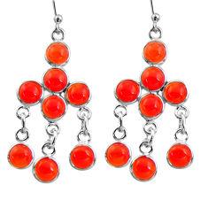 11.73cts natural orange cornelian (carnelian) silver chandelier earrings r37436