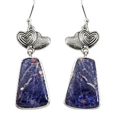 Clearance Sale- 20.33cts natural orange sodalite 925 silver couple hearts earrings d39641